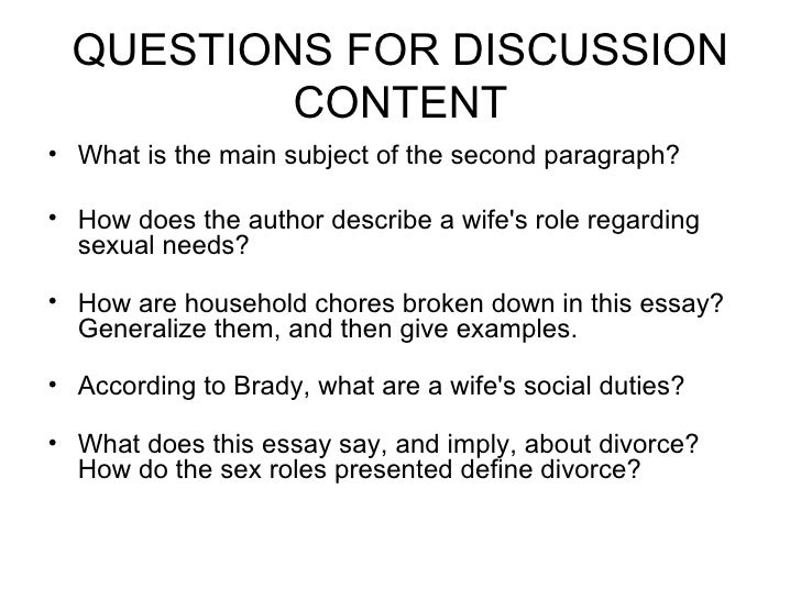judy brady why i want a wife essay I want a wife by judy brady of judy brady repeating the clause i want a wife again strategies that brady uses in this essay to another one.