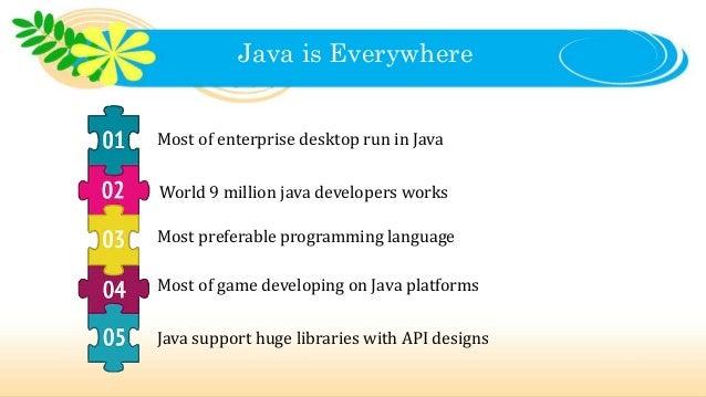 Java is Everywhere Most of enterprise desktop run in Java World 9 million java developers works Most preferable programmin...