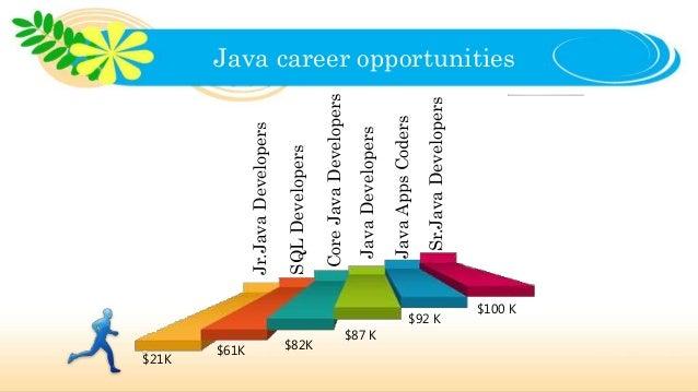 Java career opportunities Jr.JavaDevelopers $21K SQLDevelopers $61K CoreJavaDevelopers $82K JavaDevelopers $87 K JavaAppsC...