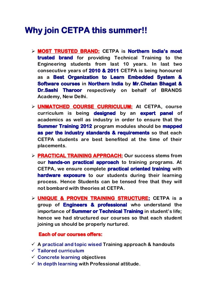 Why join CETPA this summer!!  MOST TRUSTED BRAND: CETPA is Northern India's most   trusted brand for providing Technical ...
