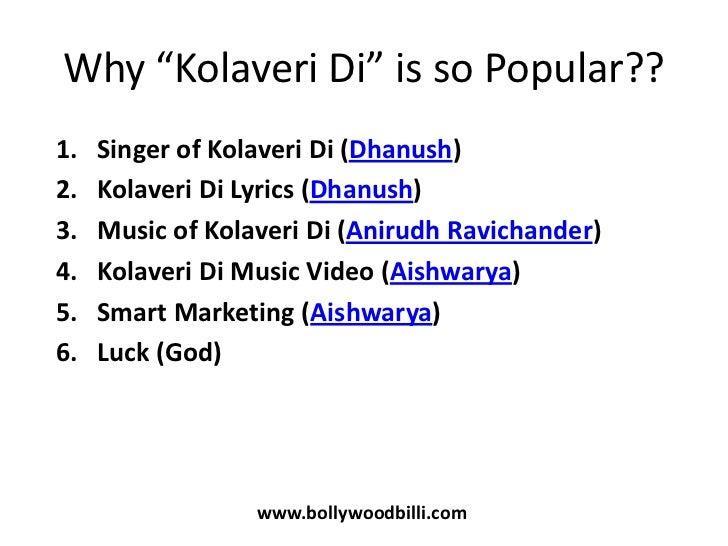 Why this kolaveri di lyrics in hindi