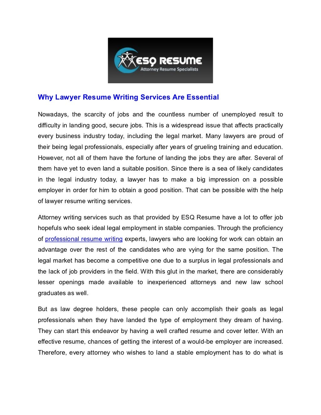 Attorney resume writing services