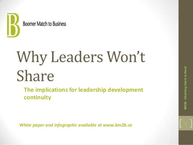 Why Leaders Won'tShare                                                       BM2B - Matching Talent to Need  The implicati...