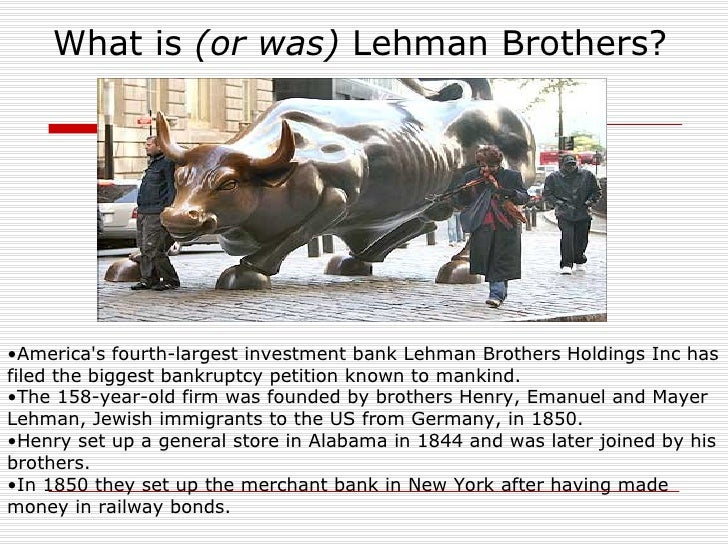 lehman bros How did this happen so quickly to lehman brothers lehman, like bear, fannie and freddie, had too much leverage think of a homeowner with a 96% mortgage.