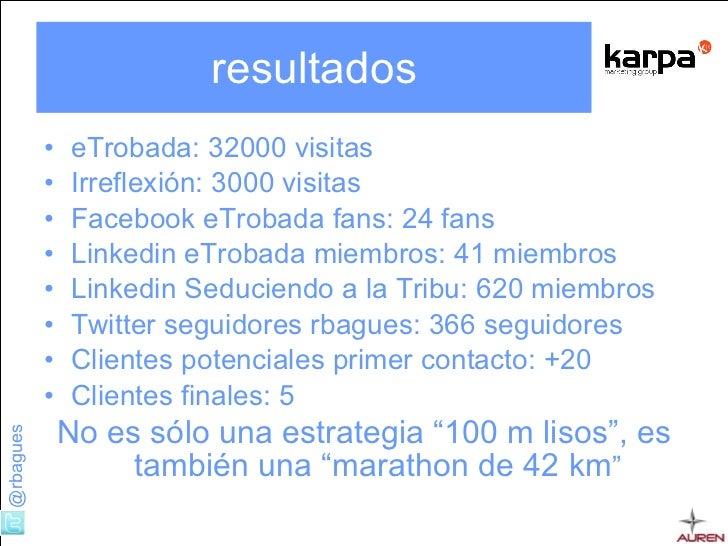 resultados <ul><li>eTrobada: 32000 visitas </li></ul><ul><li>Irreflexión: 3000 visitas </li></ul><ul><li>Facebook eTrobada...