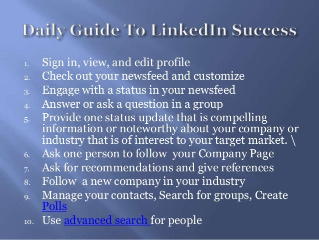 1. Sign in, view, and edit profile2. Check out your newsfeed and customize3. Engage with a status in your newsfeed4. Answe...