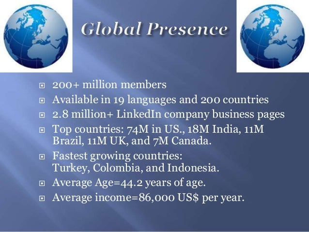 200+ million members Available in 19 languages and 200 countries 2.8 million+ LinkedIn company business pages Top cou...