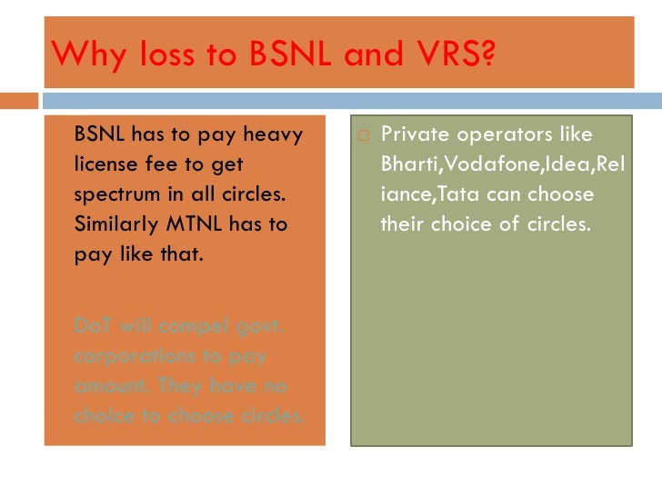 Why loss to BSNL and VRS?   BSNL has to pay heavy          Private operators like    license fee to get              Bha...