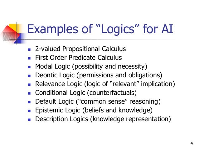 """4 Examples of """"Logics"""" for AI n 2-valued Propositional Calculus n First Order Predicate Calculus n Modal Logic (possibilit..."""