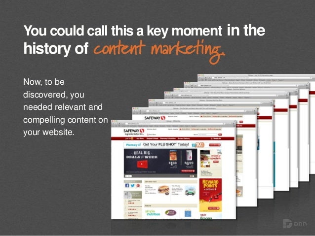 You could call this a key moment in the history of content marketing. Now, to be discovered, you needed relevant and compe...