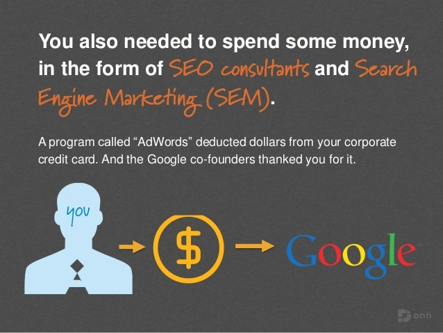 """You also needed to spend some money, in the form of SEO consultants and Search Engine Marketing (SEM). A program called """"A..."""