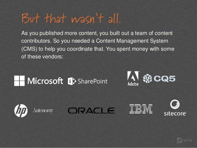 But that wasn't all. As you published more content, you built out a team of content contributors. So you needed a Content ...