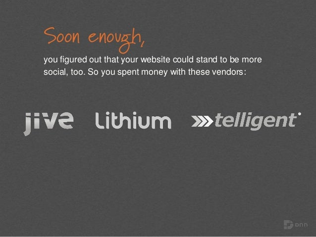 Soon enough, you figured out that your website could stand to be more social, too. So you spent money with these vendors:
