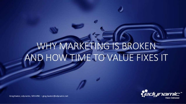 WHY MARKETING IS BROKEN AND HOW TIME TO VALUE FIXES IT Greg Baxter, edynamic, MD APAC – greg.baxter@edynamic.net