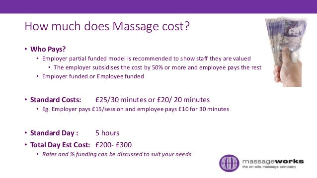 How much does Massage cost? • Who Pays? • Employer partial funded model is recommended to show staff they are valued • The...