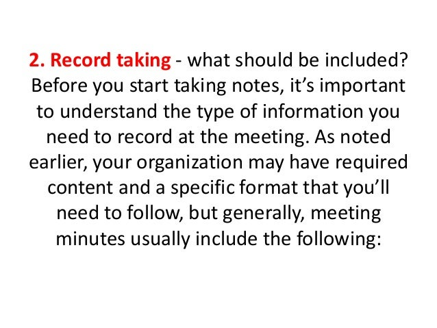 Why meeting minutes are importantppt – Taking Minutes Format
