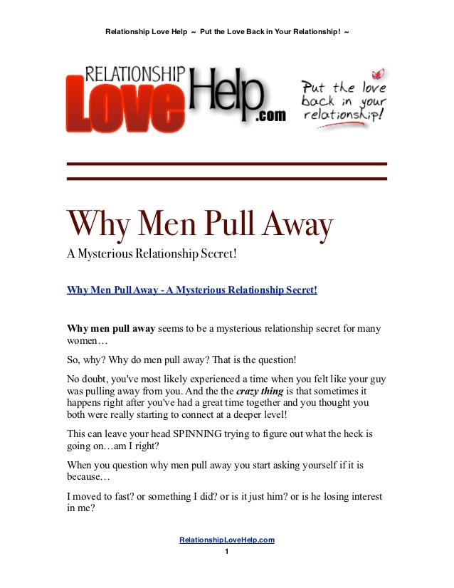 Dating when a man pulls away