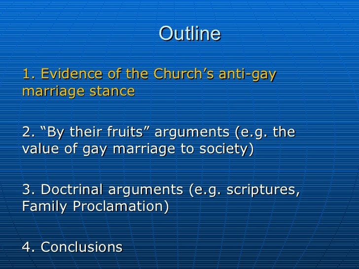 anti gay marriage essay outline