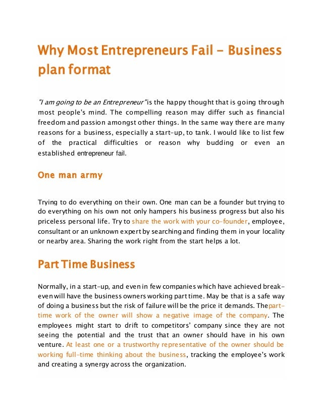 Why does business plans fail