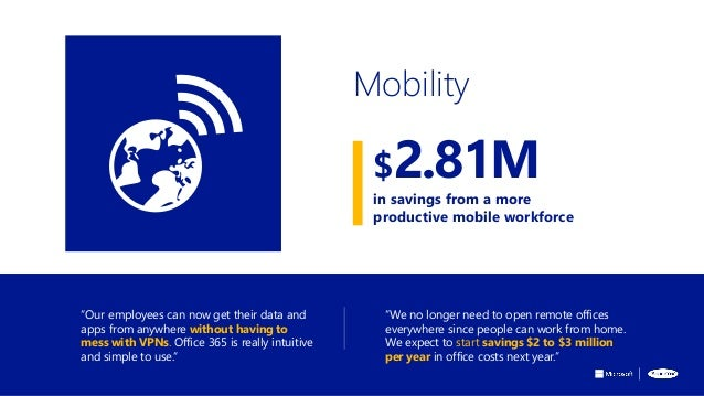 """""""Our employees can now get their data and apps from anywhere without having to mess with VPNs. Office 365 is really intuit..."""