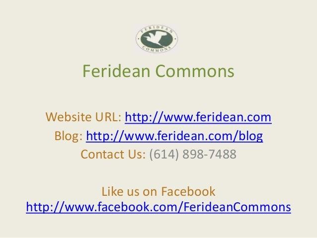 Feridean Commons  Website URL: http://www.feridean.com   Blog: http://www.feridean.com/blog       Contact Us: (614) 898-74...