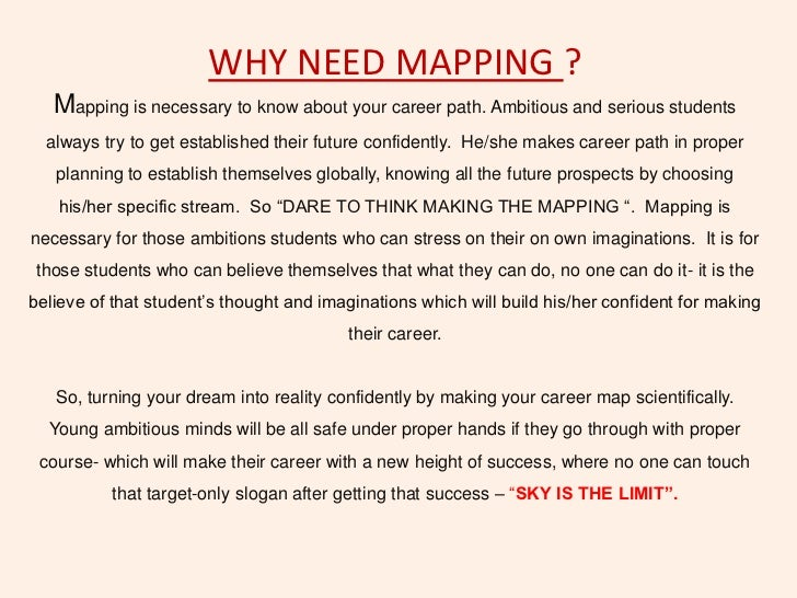 WHY NEED MAPPING ?   Mapping is necessary to know about your career path. Ambitious and serious students  always try to ge...