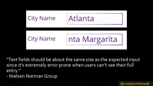 """@malekontheweb """"Text fields should be about the same size as the expected input since it's extremely error prone when user..."""