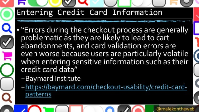 """@malekontheweb Entering Credit Card Information ▪ """"Errors during the checkout process are generally problematic as they ar..."""