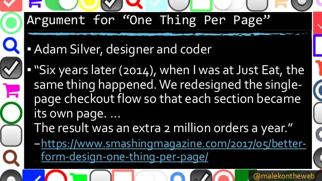 """@malekontheweb Argument for """"One Thing Per Page"""" ▪ Adam Silver, designer and coder ▪ """"Six years later (2014), when I was a..."""