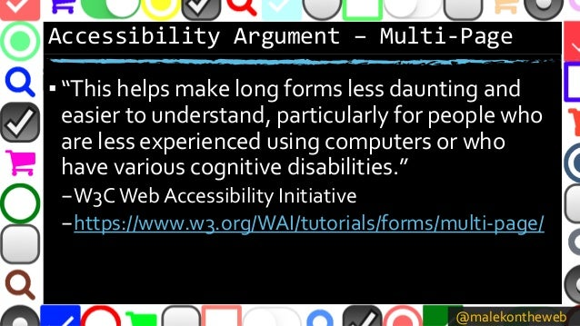 """@malekontheweb Accessibility Argument – Multi-Page ▪ """"This helps make long forms less daunting and easier to understand, p..."""