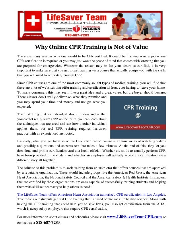Why Online Cpr Training Is Not Of Value