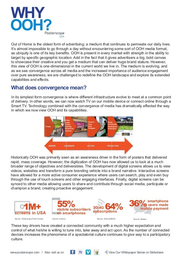 www.posterscope.com / Also visit us on View Our Whitepaper Series on Slideshare WHY Out of Home is the oldest form of adve...