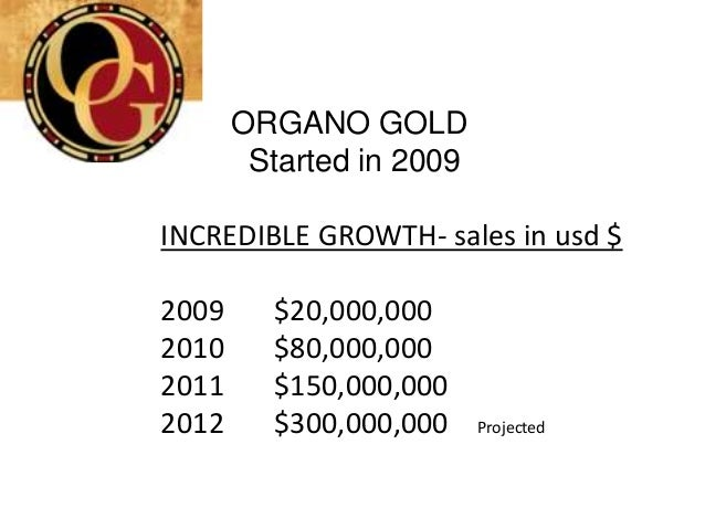 ORGANO GOLD        Started in 2009INCREDIBLE GROWTH- sales in usd $2009     $20,000,0002010     $80,000,0002011     $150,0...
