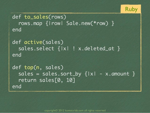 Rubydef to_sales(rows)  rows.map {|row| Sale.new(*row) }enddef active(sales)  sales.select {|x| ! x.deleted_at...