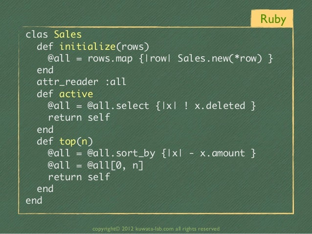 Rubyclas Sales  def initialize(rows)    @all = rows.map {|row| Sales.new(*row) }  end  attr_reader :all...