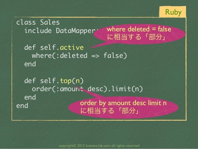 Rubyclass Sales                          where deleted = false  include DataMapper::Resource                          ...