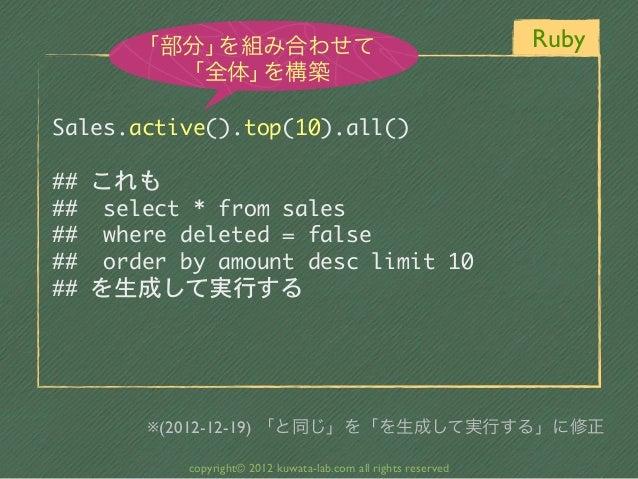 「部分」を組み合わせて                                              Ruby          「全体」を構築Sales.active().top(10).all()## これも##  sel...