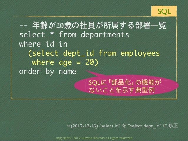 SQL-- 年齢が20歳の社員が所属する部署一覧select * from departmentswhere id in  (select dept_id from employees   where age =...