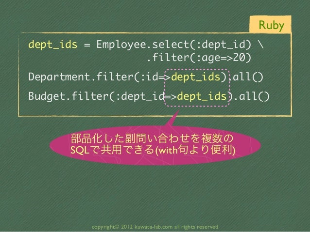 Rubydept_ids = Employee.select(:dept_id)                    .filter(:age=>20)Department.filter(:id=>...