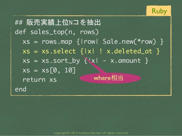 Ruby## 販売実績上位Nコを抽出def sales_top(n, rows)  xs = rows.map {|row| Sale.new(*row) }  xs = xs.select {|x| ! x....