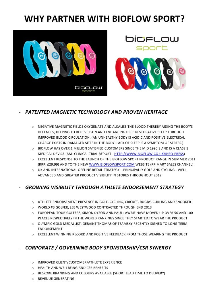 WHY PARTNER WITH BIOFLOW SPORT?- PATENTED MAGNETIC TECHNOLOGY AND PROVEN HERITAGE    o   NEGATIVE MAGNETIC FIELDS OXYGENAT...