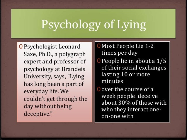 why do people lie psychology