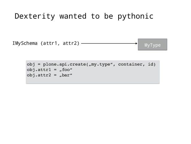 "…but it ended like this  MyType  IMySchema (attr1)  IBehavior1 (attr2)  IBehavior2 (attr3)  obj = plone.api.create(""my.typ..."