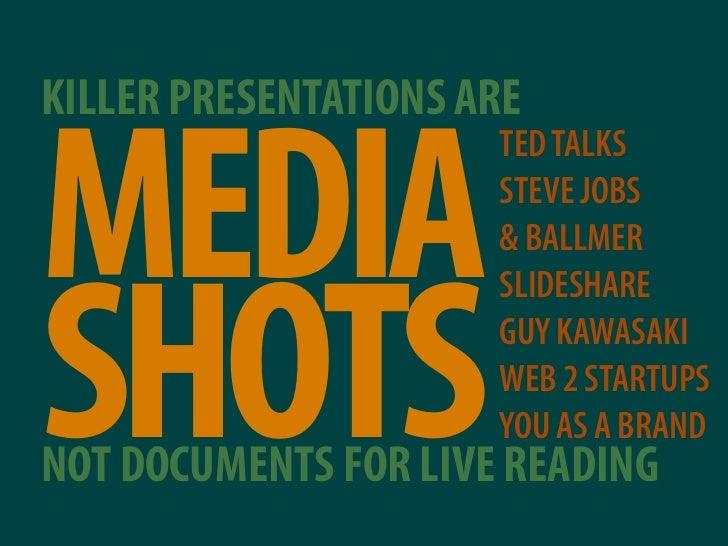 KILLER PRESENTATIONS ARE   MEDIA                       TED TALKS                       STEVE JOBS                       & ...
