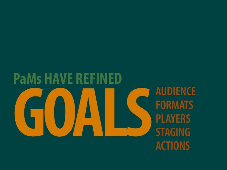 PaMs HAVE REFINED   GOALS                     AUDIENCE                     FORMATS                     PLAYERS            ...