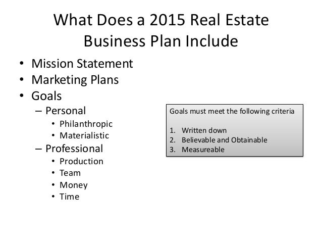 Sample Real Estate Business Plans