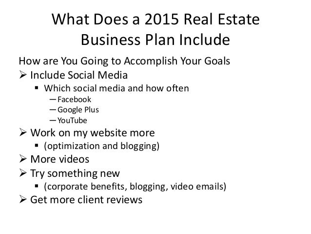 Why real estate agents need business plans 2015 – Real Estate Business Plan