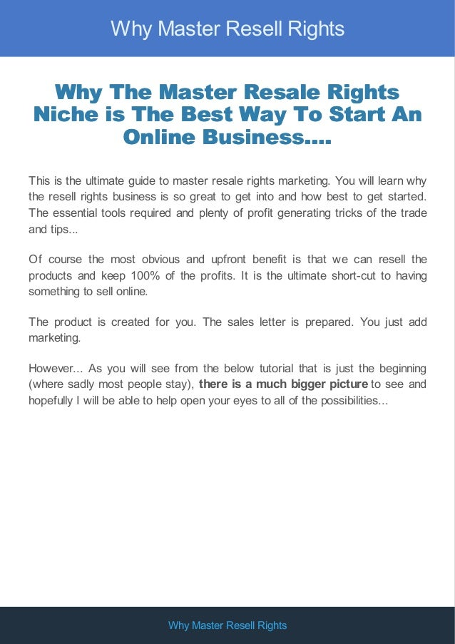 Why Master Resell Rights Is The Perfect Niche