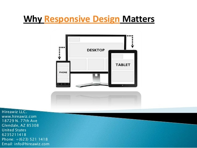 Why Responsive Design Matters  Hireawiz LLC. www.hireawiz.com 18729 N. 77th Ave Glendale, AZ 85308 United States 623521141...