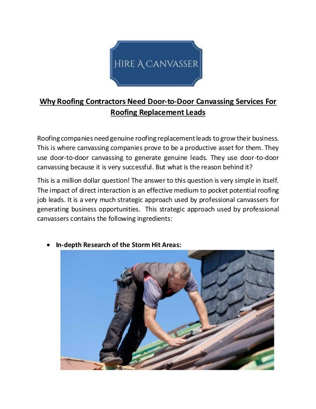 Why Roofing Contractors Need Door-to-Door Canvassing Services For Roofing Replacement Leads Roofing ...  sc 1 st  SlideShare & Why Roofing Contractors Need Door-to-Door Canvassing Services For Roo\u2026